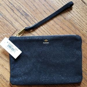 NWT Fossil Black Leather Wristlet